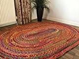 Grand ovale tressé Tapis en jute et coton multicolore 120cm x 180cm