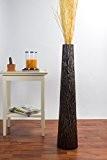 Grand Vase Décoratif 90 cm, Bois du manguier, Noir