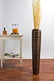 Grand Vase décoratif en terre et bois - 75cm (marron)