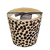 Grande bougie avec fourrure au motif léopard et 3mèches 13cm de haut et Ø 14cm
