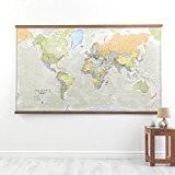 Grande Carte du Monde Style Classic Plastifiée
