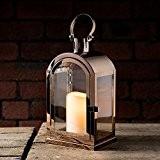 Grande Lanterne en Cuivre avec Bougie LED à Piles et Anse en Métal 29,5cm par Lights4fun