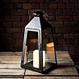 Grande Lanterne Trapèze Gris Charbon avec Bougie LED à Piles et Anse en Métal, 55cm par Lights4fun