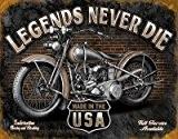 Grande moto Garage LEGENDS NEVER DIE Plaque murale rétro en métal Inscription 1630