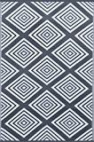 Green Decore Tapis léger Intérieur/extérieur réversible Plastique Tapis Legend Gris anthracite \ Blanc–0,9x 1,5m (90x 150cm), Charbon de bois Gris/blanc