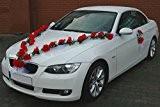 Guirlande bijoux de mariée motif voiture de mariage avec rose décorative décorations de décoration voiture pour mariage rouge/blanc