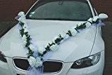 Guirlande bijoux de mariée motif voiture de mariage avec rose décorative décorations de décoration voiture pour mariage Weiß / Weiß