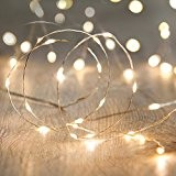 Guirlande Lumineuse à Piles avec 20 Micro LED Blanc Chaud sur Câble Argenté par Lights4fun