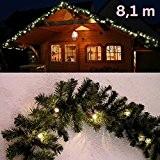 Guirlande lumineuse de Noël branche de sapin / imitation sapin 8,1 m avec 120 LED de Gartenpirat® - Usage intérieur ...