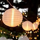 Guirlande Lumineuse LED Raccordable avec 10 Lampions Chinois Blancs pour Intérieur/Extérieur par Lights4fun