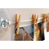 HAB & GUT (MC400) CORDE PHOTO 120 cm avec 12 pinces à linge en BOIS NATUREL