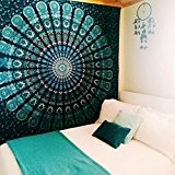 Hamhsin indien Mandala Décoration murale à suspendre Tapestry-cotton faite à la main hippie Tapestries-feather Paon Imprimé Tapisserie, à utiliser comme ...