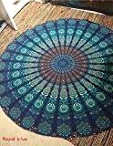 Handicrunch Couleur Bleu Queen Thème Taille Mandala tapisseries murales , Psychédélique indienne Tapisserie Literie , Suspendre Bohemian mur , imprimé ...