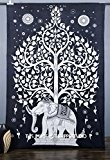 Handicrunch Elephant Tree Tapestry ,Good Luck White Elephant Tapestry , Hippie Gypsy Wall Hanging , Tree of Life Tapestry , ...
