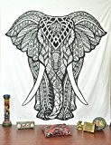Handicrunch Indian Elephant Tapestry, Hippie Tapestries, Tapestry Wall Hanging, Indian Black & White Tapestry , Bohemian Dorm Decor Mandala Tapestries, ...