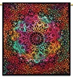 Handicrunch Indian Wall Hanging Tapestry Mandala Star Cotton Full Size Black Bedspread Throw 92 X 82 Inches