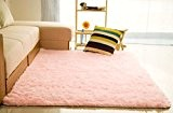 hangnuo antidérapage Salon Tapis de sol Tapis Shaggy Souple Tapis 80 x 120 cm (2.6 x 3.9ft), Rose, Pile height:2.5cm(0.9inch)