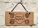 """Harry Potter. """"Bienvenue à Poudlard. Cadeau idéal pour les enfants Enfants Plaque en bois."""