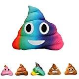 haufi Emoji Smiley Poop Coussin–Oreiller dans kackh aufen forme de, Microfibre, Haufi Rainbow, 28 cm