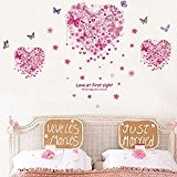 Heart Shape Butterflies Flowers Wall Decals Home Stickers House Decoration WallPaper Removable Living Dinning Room Bedroom Kitchen Art Picture Murals ...