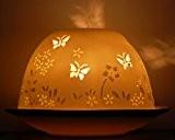 Hellmann Photophore papillon printemps en porcelaine pour bougie chauffe-plat, dans un sac en organza