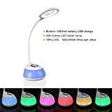 HIHIGOU LED Lampe de Bureau, 3.2W Bras Flexible Contrôle Tactile 3 Niveaux de Luminosité Réglable et 256 Couleurs Changeables base, ...
