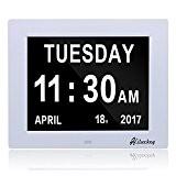 Hiluckey- Horloge numérique calendrier avec date, jour et heure   Horloge Alzheimer   Horloge pour les Seniors [Classe énergétique A+++](Avec ...