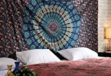 Hippie Indien Mandala Tapestry deco Boho Verte Tapisserie Murale Fleur Bohémien Tenture Boho Room Decor Indienne Throw coton Wall Hanging ...
