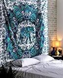 Hippie Indien Tapisserie Déco mural Éléphant Bleu vert Tenture Coton Grand bohémien Mandala Florale Tapisserie murale Par Rajrang