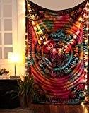 Hippie Mandala Tapisserie Indien Boho Tie Dye Tenture Éléphant coton Décoration murale Tapestry Par Rajrang