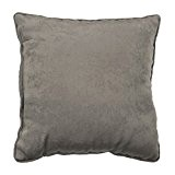 Homea Coussin Passepoil Velours Uni Cabaret Polyester Taupe 40 x 40 cm