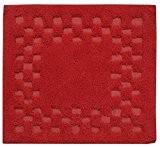 Homescapes 1 Tapis de bain éponge ANTIDERAPANT (50 x 50cm) à CARREAUX. Pur coton ULTRA DOUX. Couleur ROUGE