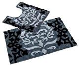 Homescapes 1 Tapis de bain éponge ANTIDERAPANT contour de lavabo (50 x 55cm) DAMAS. Pur coton ULTRA DOUX. Couleur NOIR