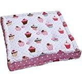 Homescapes Coussin de Chaise à motifs de Petit Gâteaux et couleurs Rouge Rose Blanc fait en 100 % Coton de ...