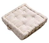 Homescapes Coussin de sol – Galette de chaise – Naturel 40x40x10cm – Collection Rajput 100% Coton