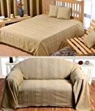 Homescapes Jeté de lit ou Jeté de canapé Beige - 230x260cm – Collection Rajput 100% Coton