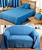 Homescapes Jeté de lit ou Jeté de canapé - Bleu 230x260cm – Collection Rajput 100% Coton