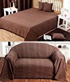 Homescapes Jeté de lit ou Jeté de canapé Chocolat - 150x200cm – Collection Rajput 100% Coton