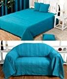 Homescapes Jeté de lit ou Jeté de canapé Turquoise 230 x 260 cm Collection Rajput 100% Coton
