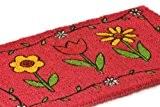 Homescapes Paillasson (40 x 70 cm) TULIPE ET PAQUERETTES. 100 % fibres de coco naturel.