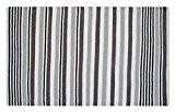 Homescapes Tapis décoratif à rayures blanches et grises foncéesde 90 x 150 cm en 100% Coton