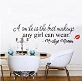 Homgaty Marilyn Monroe A Smile Is The Best Makeup Vinyl Wall Sticker Mural Decal Art Wallpaper For Home/Room/Office Nursery Decoration- ...