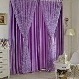 Hoobo Nouveaux Cercles Tulle Voile Porte Écharpe Valances Drapé Rideaux de fenêtres Sheer (Seulement de sable fin) Violet&100*200cm