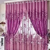 Hoobo Sheer New Pivoine Fleur rideaux de fenêtre rideaux métalliques Œillet Panneau Voile (de sable seulement mince) Violet&100*250cm