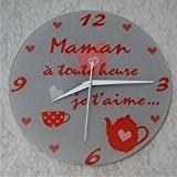 Horloge Je t'aime Maman – Cadeau pour la fête des Mères, Noël, Anniversaire, Naissance...