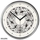 Horloge Pendule Murale DSAAA Fixés Au Mur Mute Horloge À Quartz Vent De La Chine14 Pouce Cadre En Métal Argenté