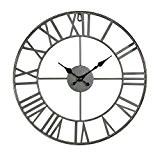 Horloge pendule murale en métal style vintage - diamètre 40 cm - Coloris GRIS