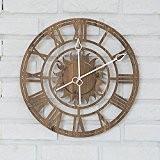 Horloge Pendule Murale Vintage Horloge De Chiffre Romain Circulaire De 16 Pouces De Salon Style Européen,Brown DSAAA