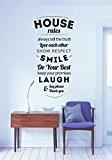 House Rules Sticker mural vinyle Decal 55x 100 noir