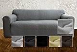 Housse de canapé Ambivelle, housse stretch biélastique, revêtement de canapé, pour de nombreux canapés 2 places courants, gris